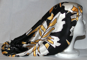 Charmeuse Silk Sleep Cap Adjustable (B/W and Yellow) 19""
