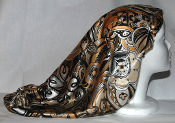 Charmeuse Silk Sleep Cap Adjustable [B, W & Gold Paisley] 21""
