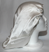 Charmeuse Silk Sleep Cap Adjustable (White) 15""