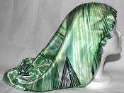 Charmeuse Silk Sleep Cap Adj. [Green Stripes] 20""