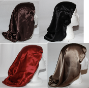 Charmeuse Silk Sleep Cap Adj. (Mocha, Black, Red, Caramel) 15""