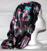 Charmeuse Silk Sleep Cap Adjustable (Purple Flowers) 14""