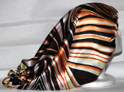 Charmeuse Silk Sleep Cap Adjustable (Orange Stripes) 20""