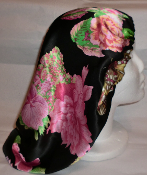Charmeuse Silk Sleep Cap Adjustable (Floral) 13""