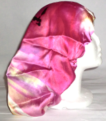 Charmeuse Silk Sleep Cap (pink abstract stripes) 15""