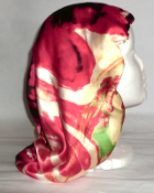 Charmeuse Silk Sleep Cap (red abstract stripes) 15""
