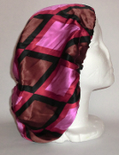 Charmeuse Silk Sleep Cap (Pink Diamonds) 10""